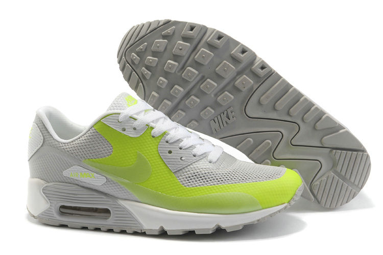Mens Nike Air Max 90 Hyperfuse Trainers Grassgreen/Grey