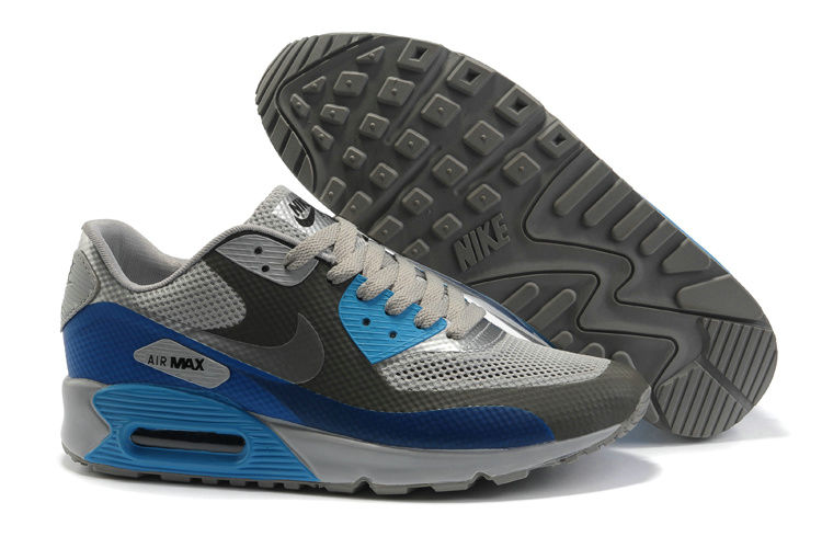 Mens Nike Air Max 90 Hyperfuse Trainers Blue/Grey/White