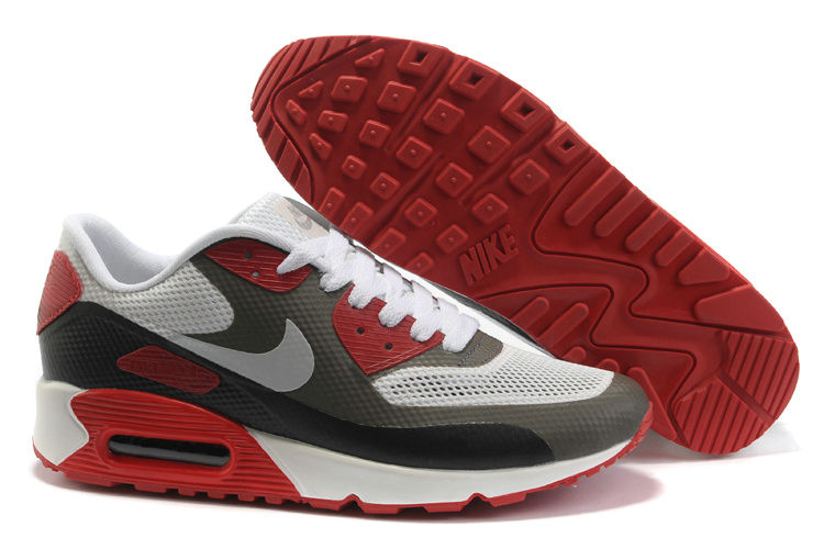 Mens Nike Air Max 90 Hyperfuse Trainers Grey/Red