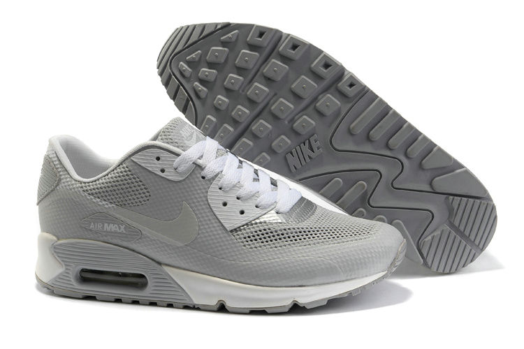 Mens Nike Air Max 90 Hyperfuse Trainers Grey
