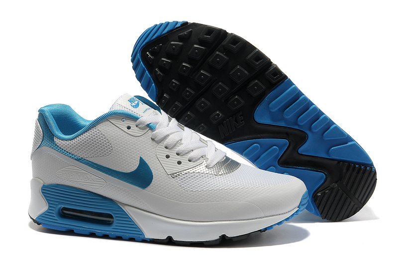 Mens Nike Air Max 90 Hyperfuse Trainers White/Grey/Blue
