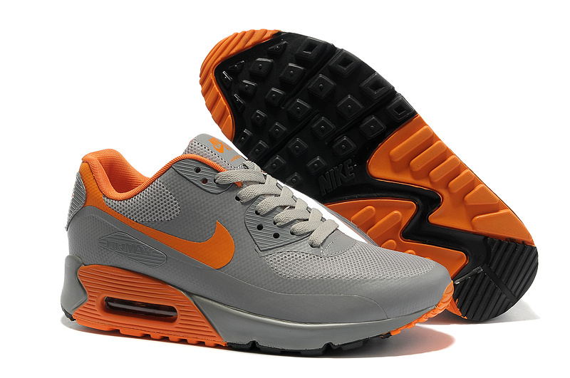 Mens Nike Air Max 90 Hyperfuse Trainers Orange/Grey