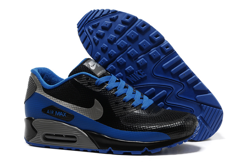 Mens Nike Air Max 90 Hyperfuse Trainers Black/Deepblue