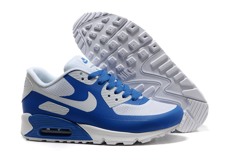 Mens Nike Air Max 90 Hyperfuse Trainers White/Blue