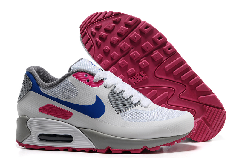 Womens Nike Air Max 90 Hyperfuse Trainers Blue/Rose/White