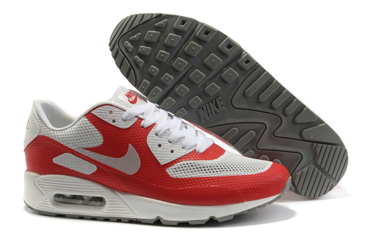 Womens Nike Air Max 90 Hyperfuse Trainers Red/Grey