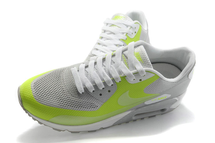 Womens Nike Air Max 90 Hyperfuse Trainers Grassgreen/Grey