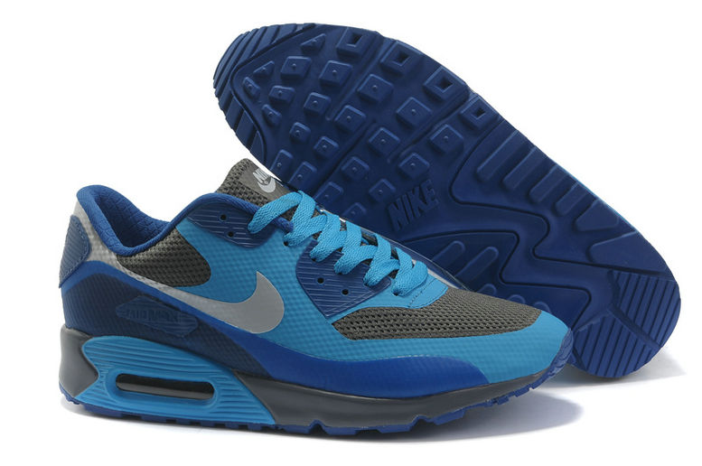 Womens Nike Air Max 90 Hyperfuse Trainers Deepblue/Grey