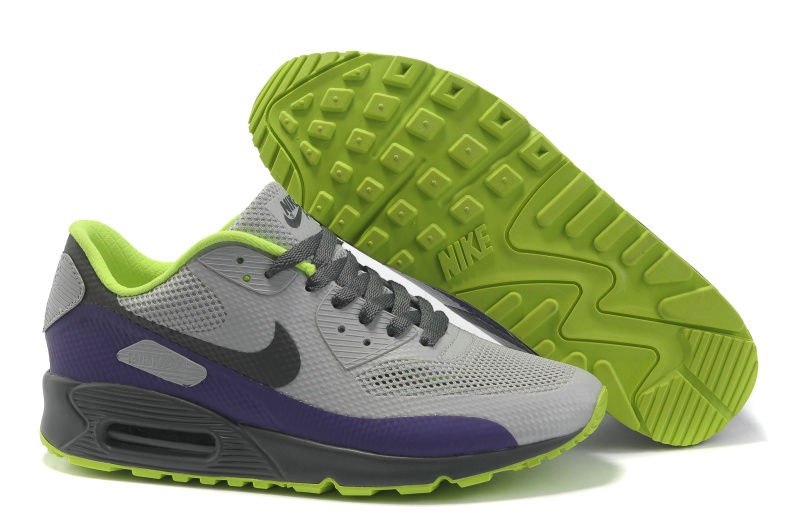 Womens Nike Air Max 90 Hyperfuse Trainers Grey/Purple/Grassgreen