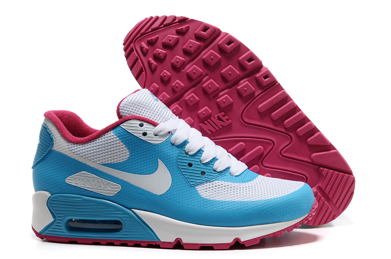 Womens Nike Air Max 90 Hyperfuse Trainers Skyblue/White