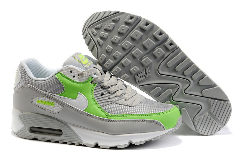 Womens Nike Air Max 90 Trainers Green/White/Grey