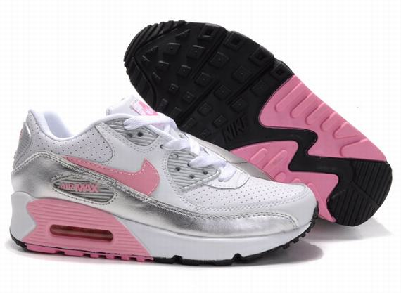 Womens Nike Air Max 90 Trainers Silver Grey/Pink/White