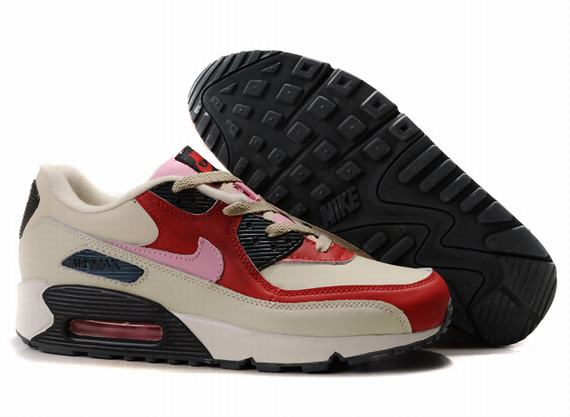 Womens Nike Air Max 90 Trainers Brown/Red/White