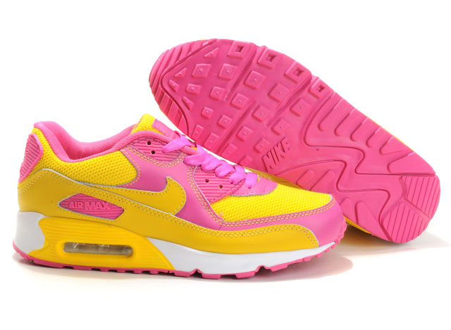 Womens Nike Air Max 90 Trainers Yellow/Pink/White