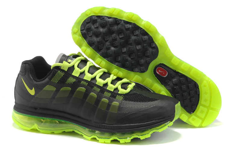 Mens Nike Air Max 95-360 Trainers Black/Fluorescence Green