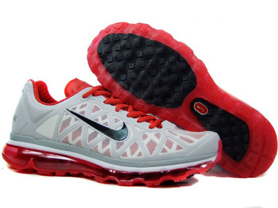 Mens Nike Air Max 2011 Trainers Grey/Red