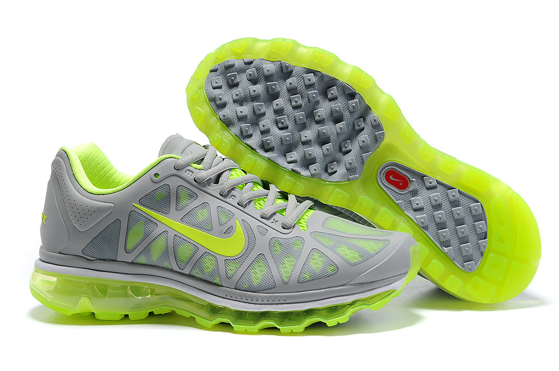 Mens Nike Air Max 2011 Trainers Grey/FluorescenceGreen