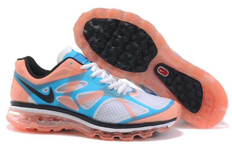 Mens Nike Air Max 2012 Trainers Orange/Blue/Black/White