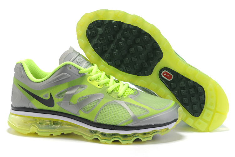 Mens Nike Air Max 2012 Trainers FluorescenceGreen/Black/Grey