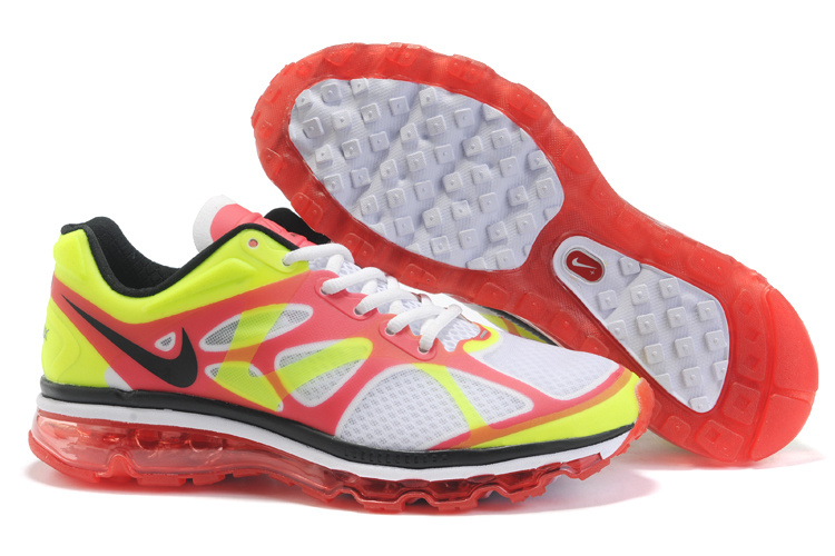 Mens Nike Air Max 2012 Trainers FluorescenceGreen/Red/White/Blac
