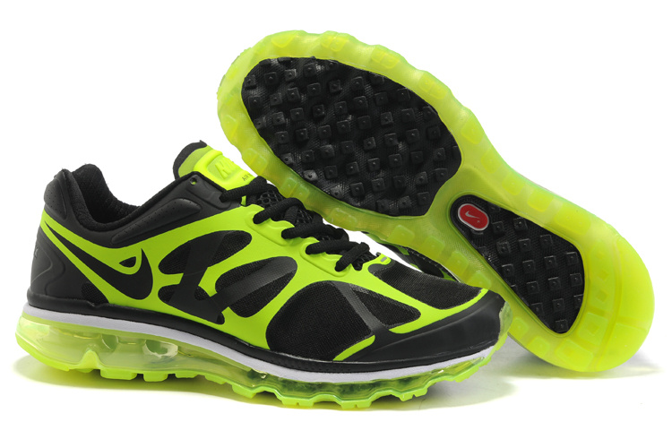 Mens Nike Air Max 2012 Trainers FluorescenceGreen/Black/White