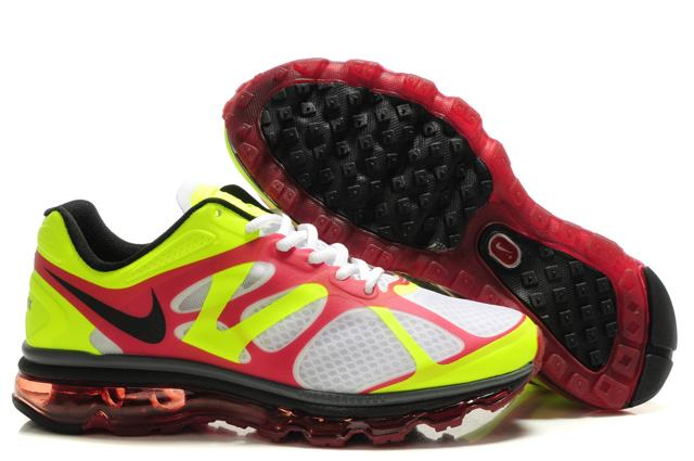 Mens Nike Air Max 2012 Trainers Red/White/FluorescenceGreen