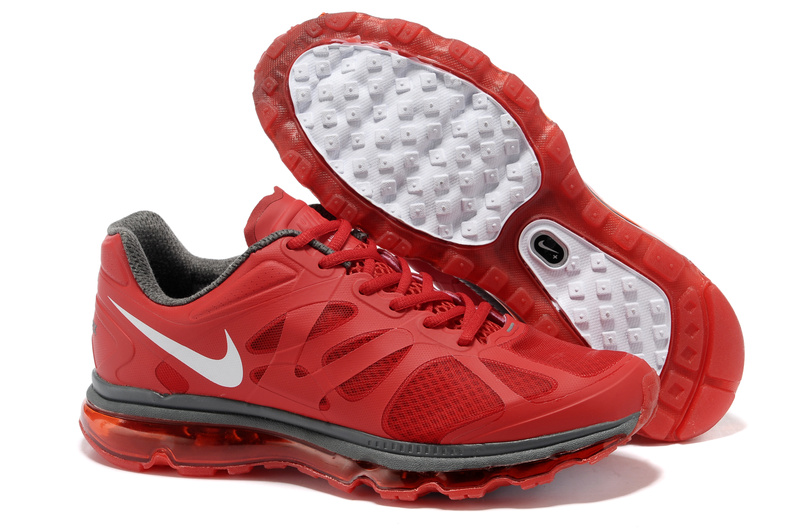 Mens Nike Air Max 2012 Trainers Red/Grey/White