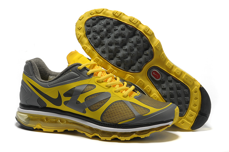 Mens Nike Air Max 2012 Trainers Yellow/Grey