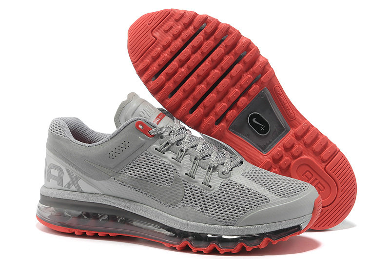 Mens Nike Air Max 2013 Trainers Silver gray/red