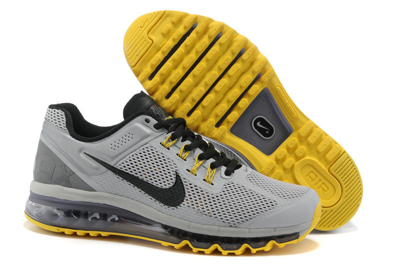 Mens Nike Air Max 2013 Trainers Silver/gray/yellow
