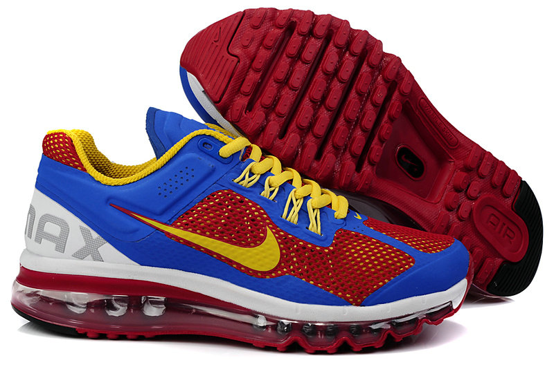 Mens Nike Air Max 2013 Trainers Red/Blue/White/Yellow