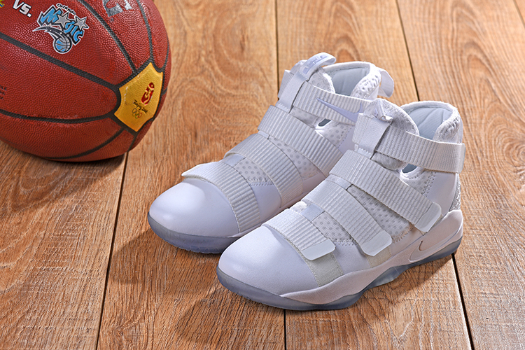 New Men Nike Lebron Soldier 11 All White Shoes