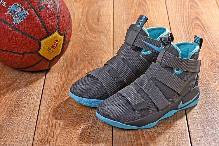 New Men Nike Lebron Soldier 11 Grey Jade Shoes