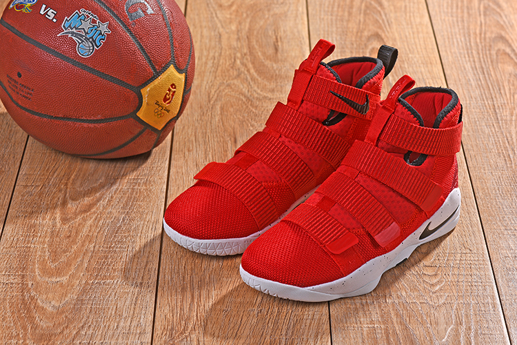 New Men Nike Lebron Soldier 11 Hot Red Black Shoes