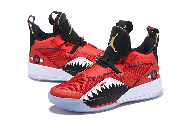 New 2019 Jordan Shoes 33 Red White Shark Teeth Shoes