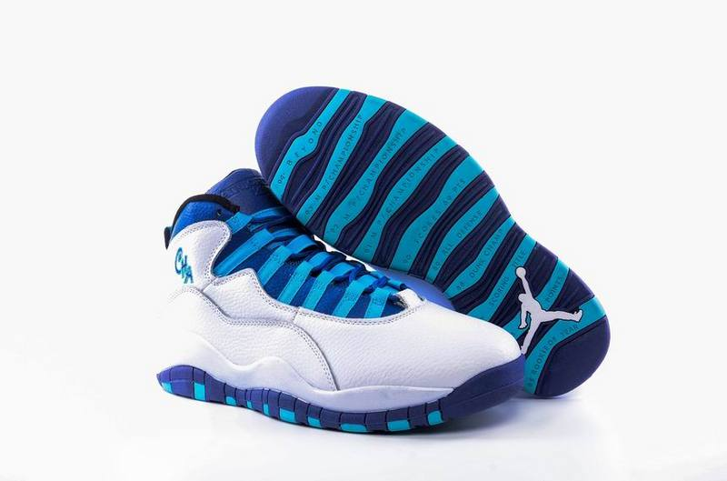 New Air Jordan 10 Charlotte Hornets White Concord Blue Lagoon Black Shoes