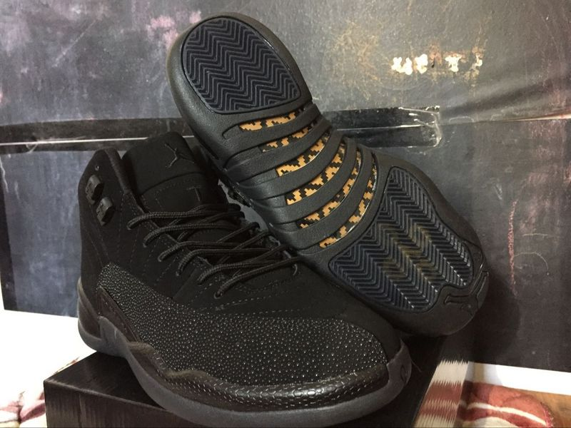 2016 Air Jordan 12 OVO Black Yellow Shoes