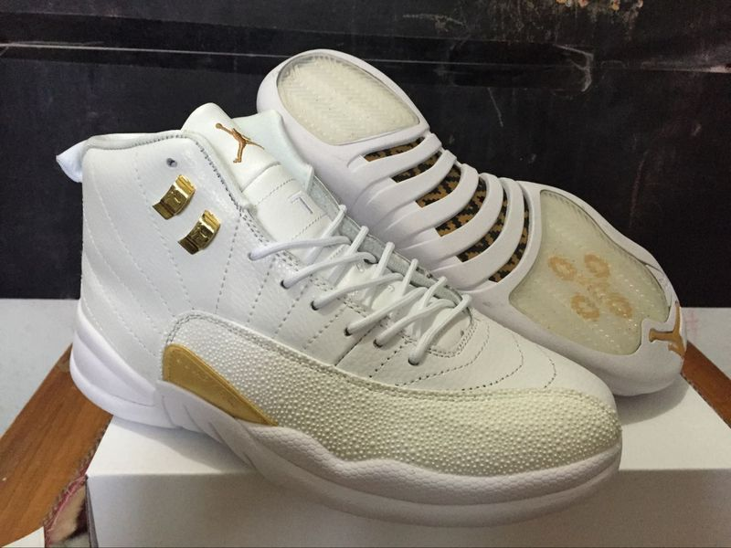2016 Air Jordan 12 OVO White Gold Shoes