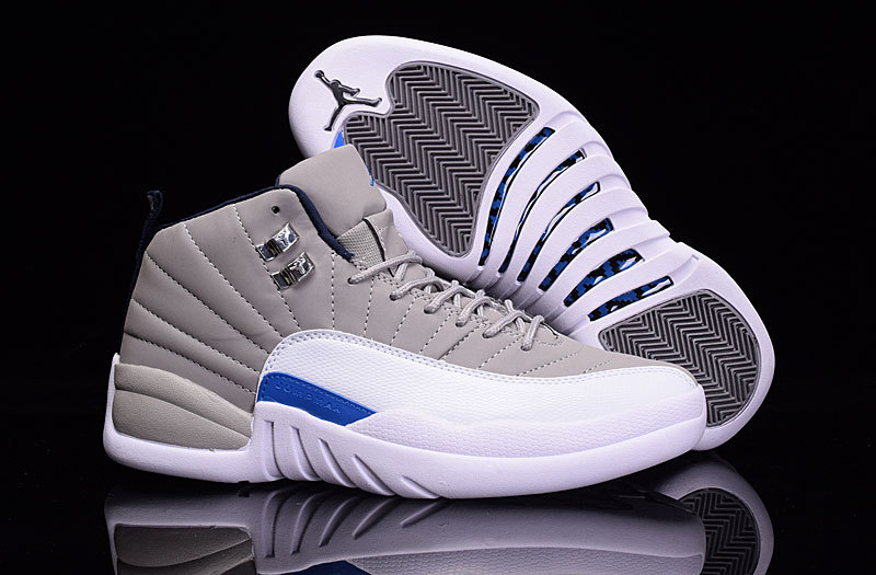 New Air Jordan 12 Wolf Grey Blue White Shoes