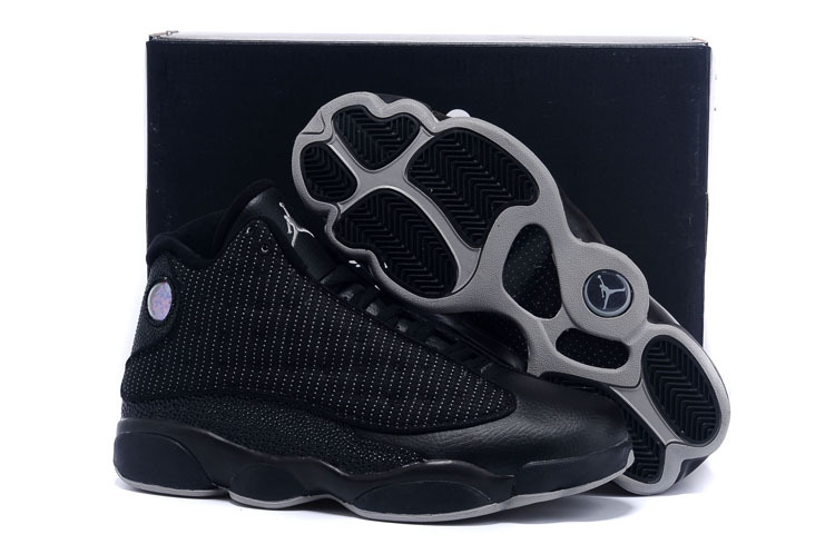 New Air Jordan 13 All Black Grey 2015 Shoes