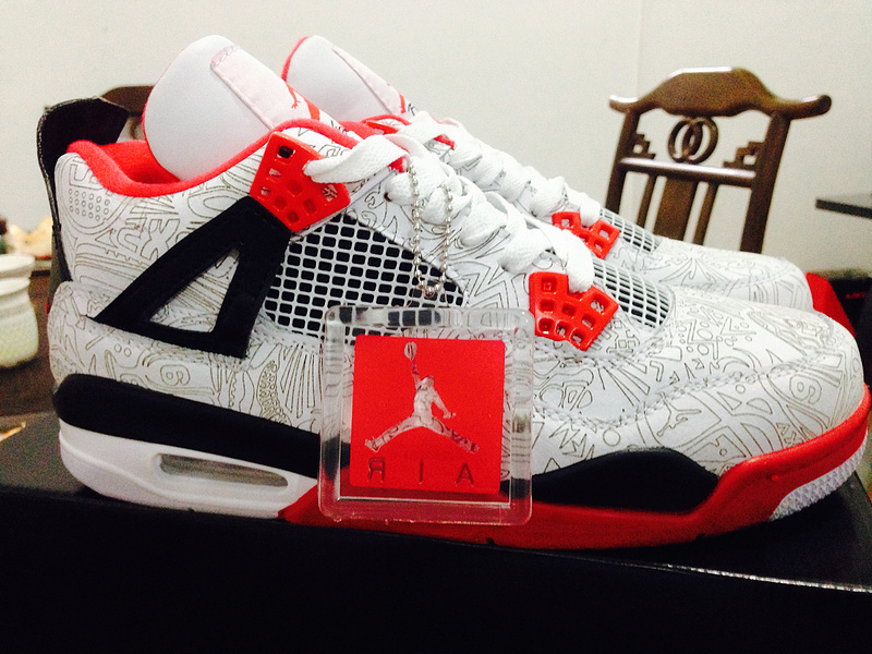 Air Jordan 4 Laser White Varsity Red Black Shoes