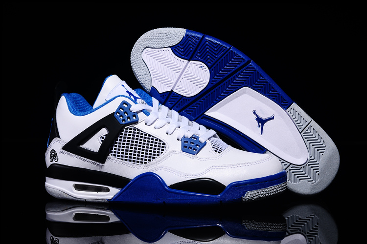 New Air Jordan 4 Retro White Black Blue 2015