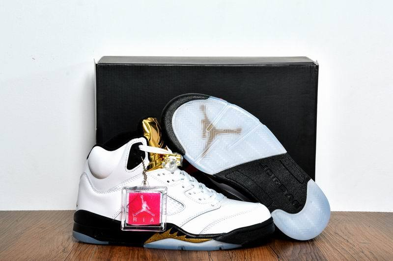 New Air Jordan 5 Olympic Gold Medal White Black Metallic Gold Coin Shoes