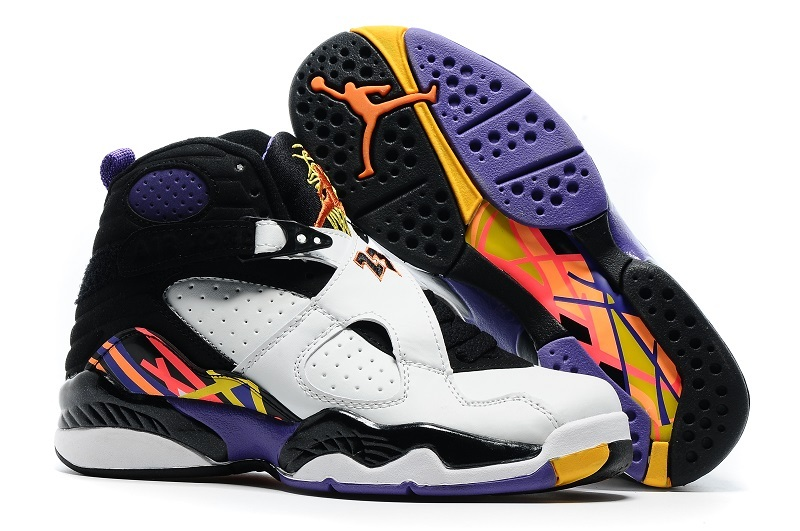 Women Air Jordan 8 Retro White Black Yellow Shoes