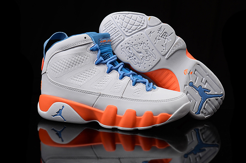 2016 Air Jordan 9 GS White Orange Blue Shoes