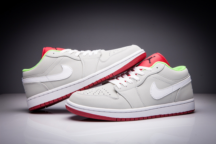 New Jordan 1 Retro Hare Low Grey Red White Women Shoes