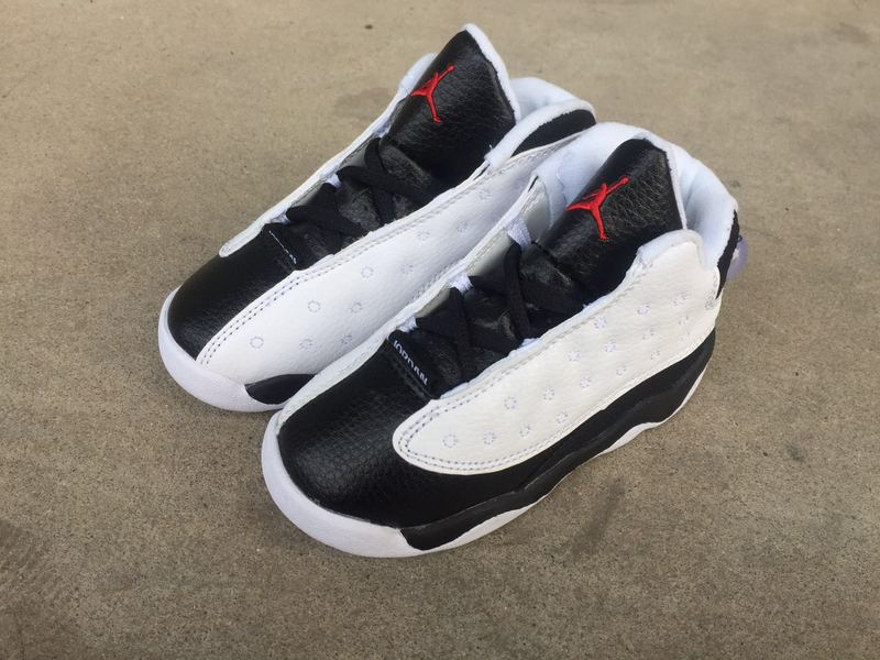 New Kids Air Jordan 13 Retro White Black Red Shoes