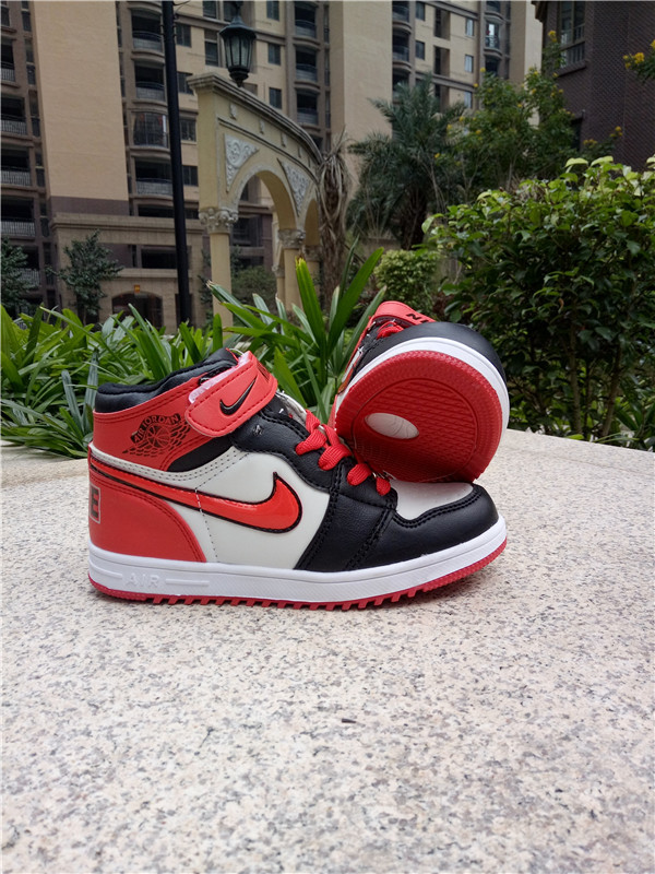 New Kids Jordan 1 Retro Red Black White Shoes