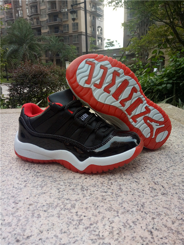 New Kids Jordan 11 Retro Low Bred Red Shoes