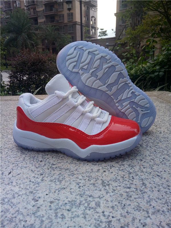 New Kids Jordan 11 Retro Low White Red Shoes